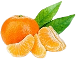 Tangerine with leaves