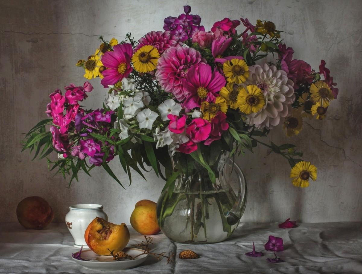 Puzzle Sammeln Puzzle Online - Bouquet and peaches