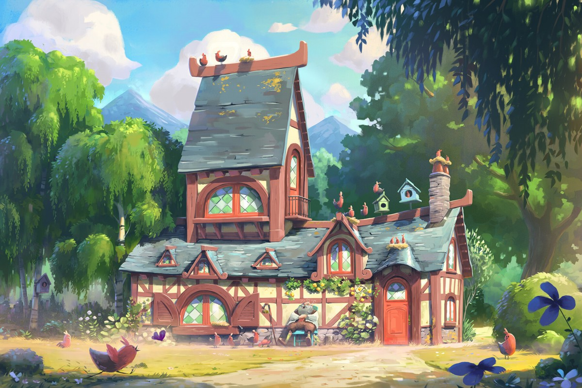 Puzzle Sammeln Puzzle Online - House with birds