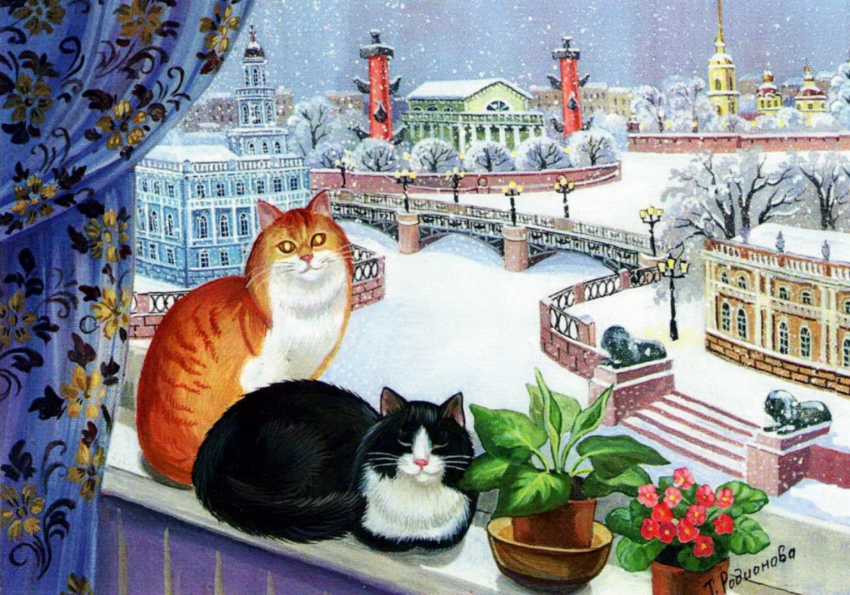 Puzzle Sammeln Puzzle Online - Cats on the window