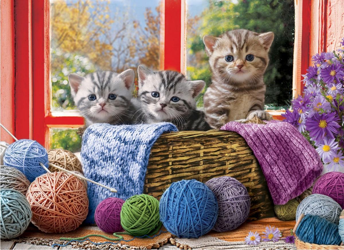 Puzzle Sammeln Puzzle Online - Kittens in a basket