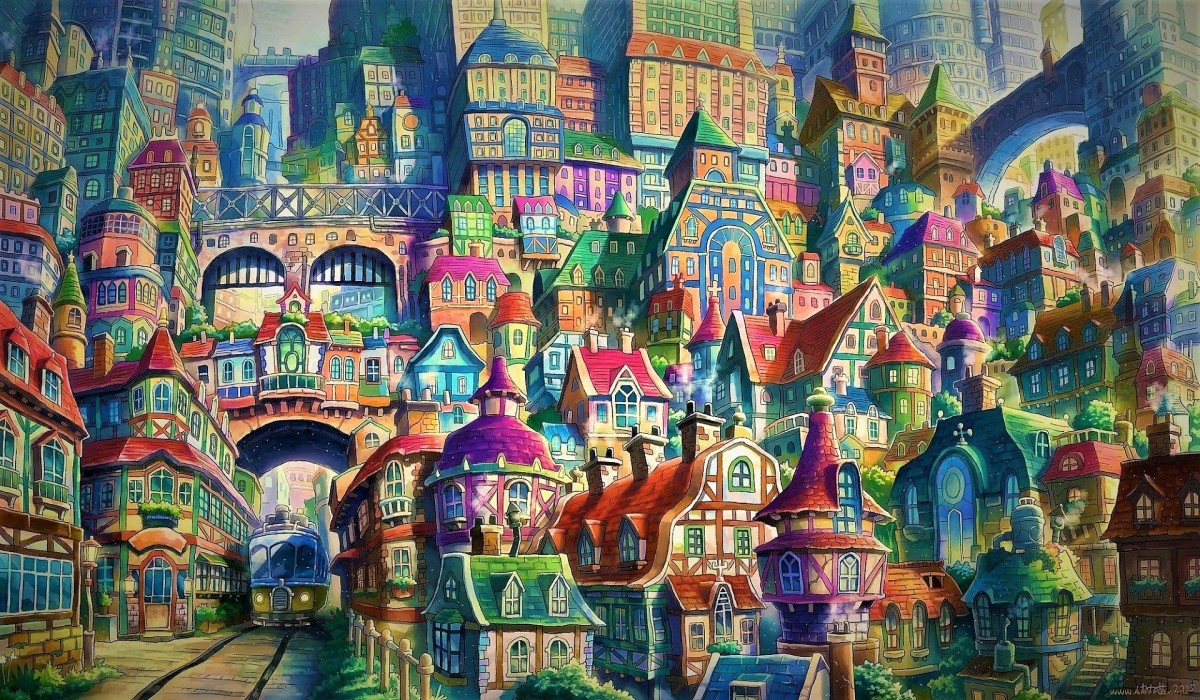 Puzzle Sammeln Puzzle Online - Painted town