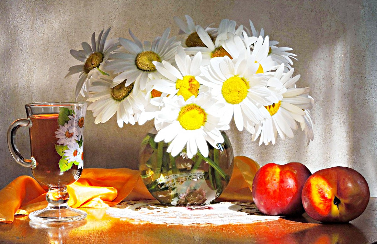 Puzzle Sammeln Puzzle Online - Chamomile and nectarines