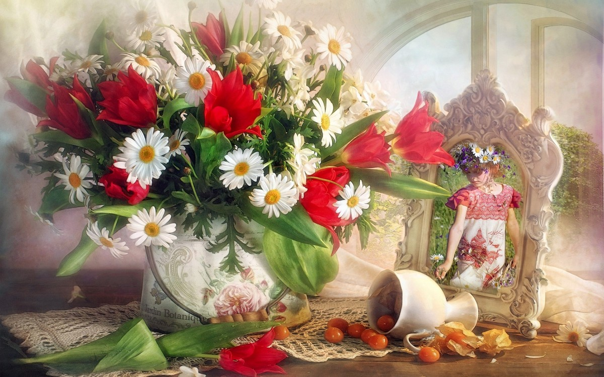 Puzzle Sammeln Puzzle Online - Daisies and tulips