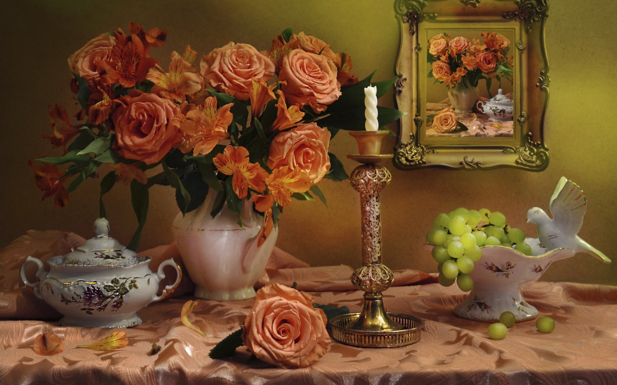 Puzzle Sammeln Puzzle Online - Roses and grapes