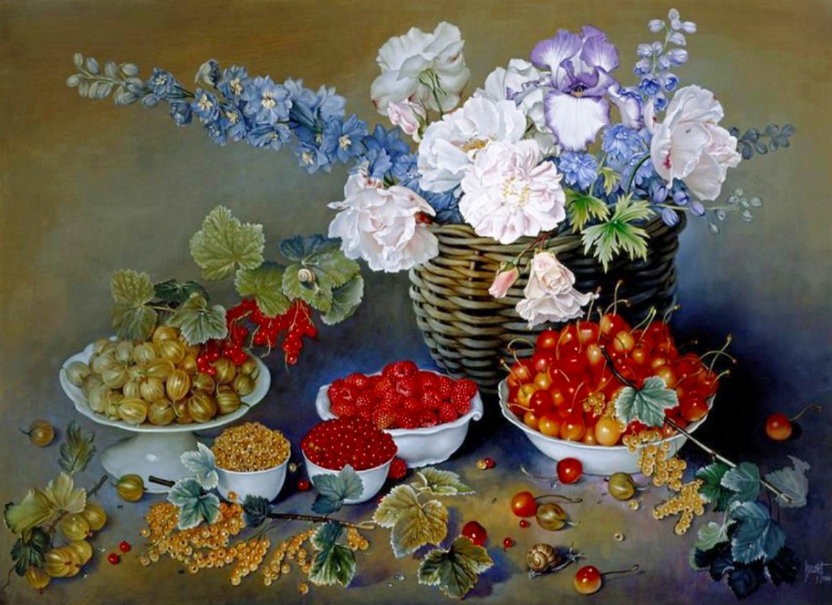 Puzzle Sammeln Puzzle Online - Flowers and berries