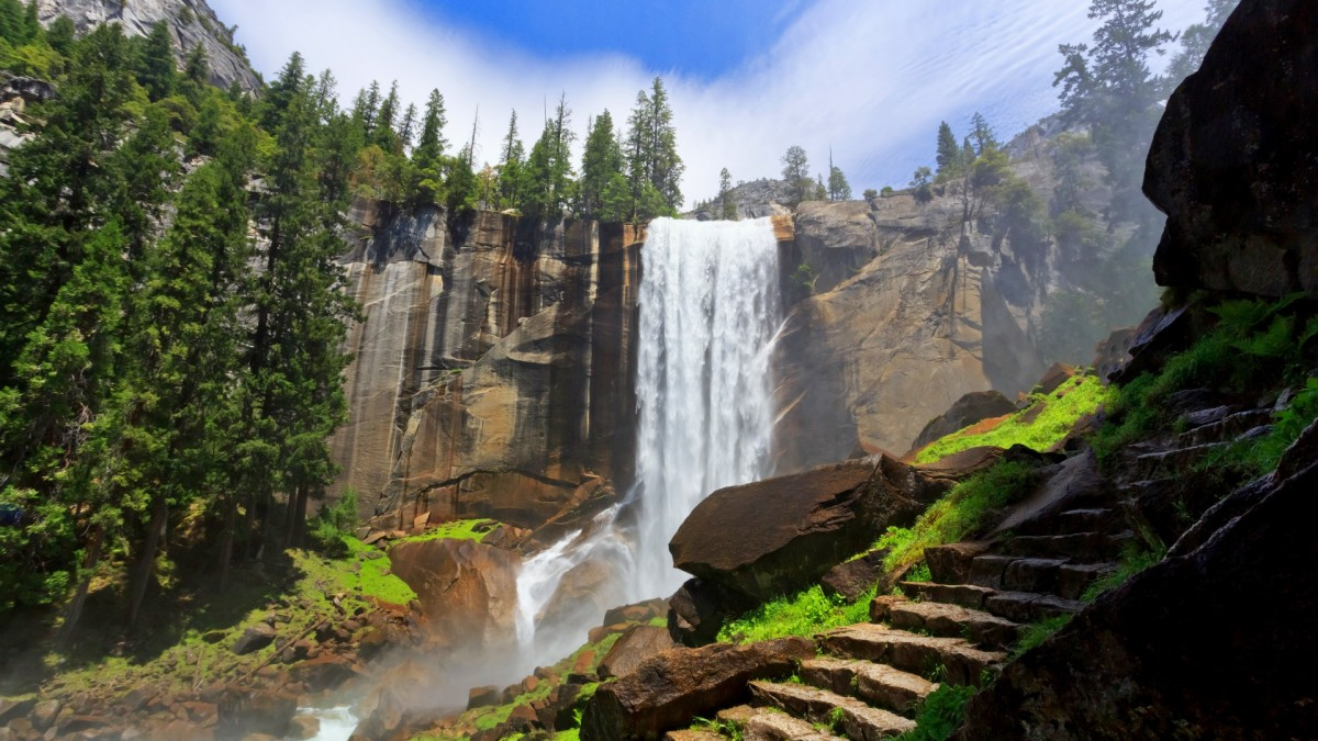 Puzzle Sammeln Puzzle Online - Waterfall and steps