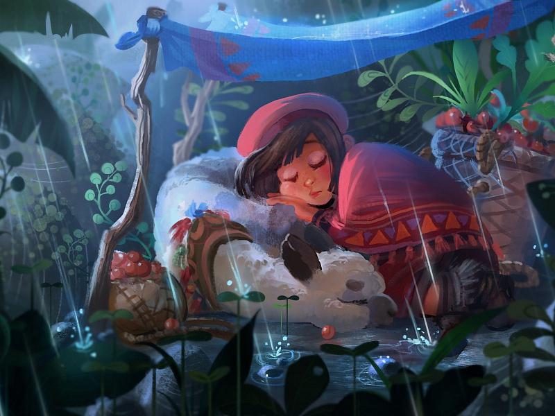 Puzzle Sammeln Puzzle Online - Alpaca and girl