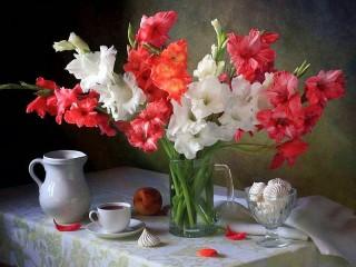 Собирать пазл Bouquet of gladioli онлайн
