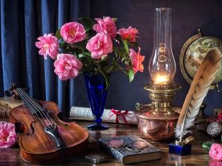 Собирать пазл Bouquet lamp онлайн