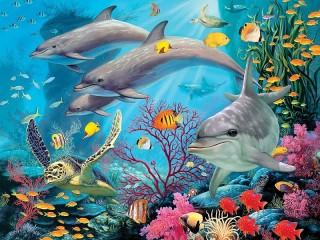 Собирать пазл Dolphins and turtle онлайн