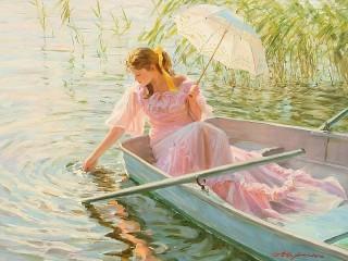 Собирать пазл The girl on the boat онлайн