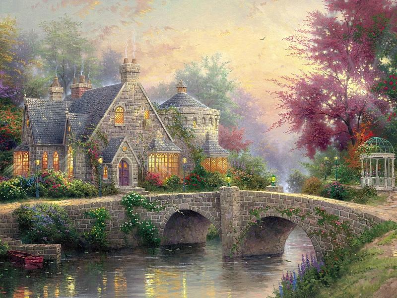 Puzzle Sammeln Puzzle Online - House at river