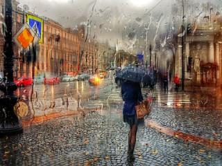 Собирать пазл Rain on Nevsky Prospect онлайн