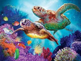 Собирать пазл Two turtles онлайн
