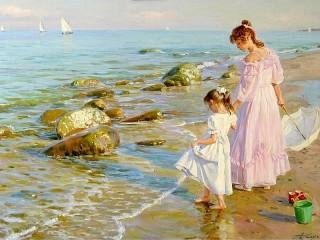 Собирать пазл Two sisters on the shore онлайн