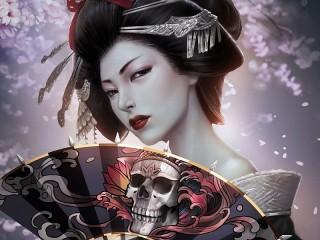 Собирать пазл Geisha with fan онлайн