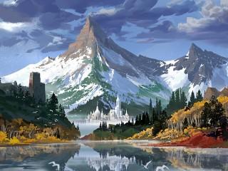 Собирать пазл Mountain and city онлайн