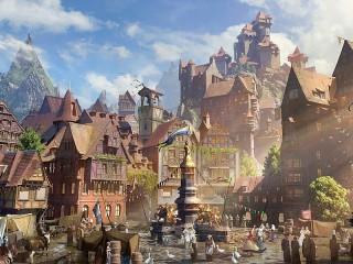Собирать пазл Town among the mountains онлайн