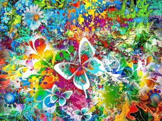 Собирать пазл Play of colours and flowers онлайн