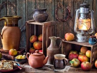 Собирать пазл Ceramics and apples онлайн