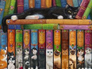 Собирать пазл Book shelf of a cat онлайн