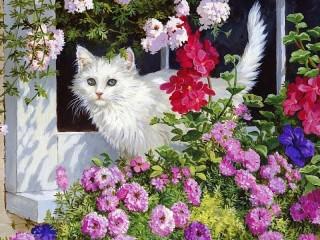 Собирать пазл Cat and flowers онлайн