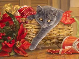 Собирать пазл Cat in basket онлайн