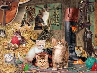 Собирать пазл Cats in the barn онлайн