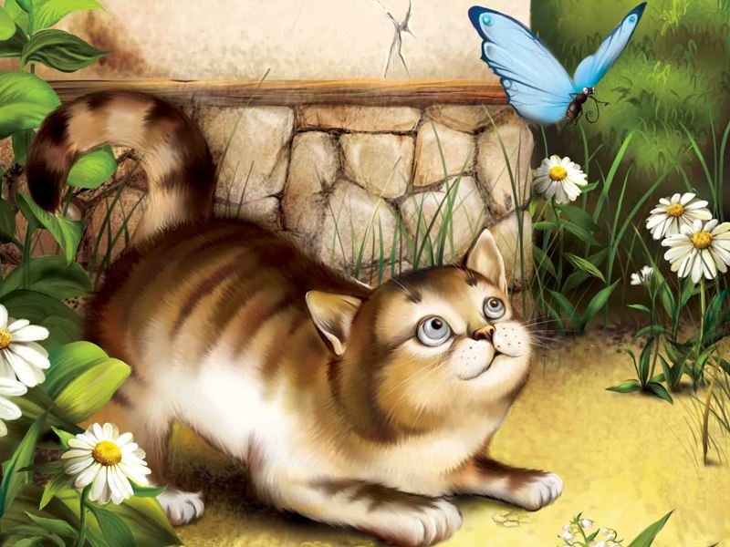 Puzzle Sammeln Puzzle Online - Cat and Butterfly