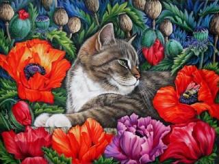 Собирать пазл Cat and poppies онлайн