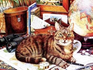 Собирать пазл Cat the traveller онлайн