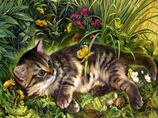 Собирать пазл Kitten and butterfly онлайн