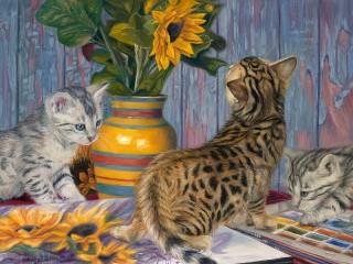 Собирать пазл Kittens and a bouquet онлайн