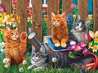 Собирать пазл Kittens in the garden онлайн