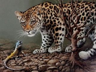 Собирать пазл Leopard and iguana онлайн