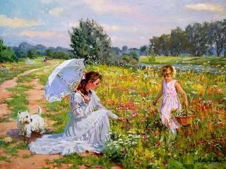 Собирать пазл Mother and daughter онлайн