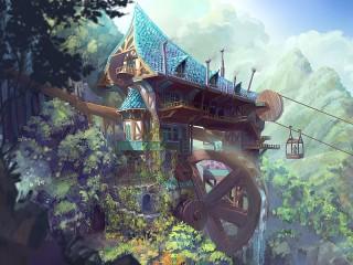 Собирать пазл Mill in the mountains онлайн
