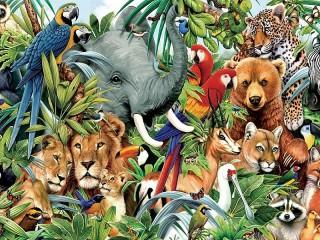 Собирать пазл The world of animals онлайн