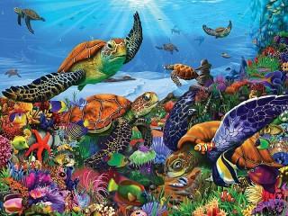 Собирать пазл Sea turtles онлайн