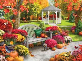 Собирать пазл Autumn garden онлайн
