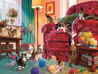 Собирать пазл Playful kittens онлайн