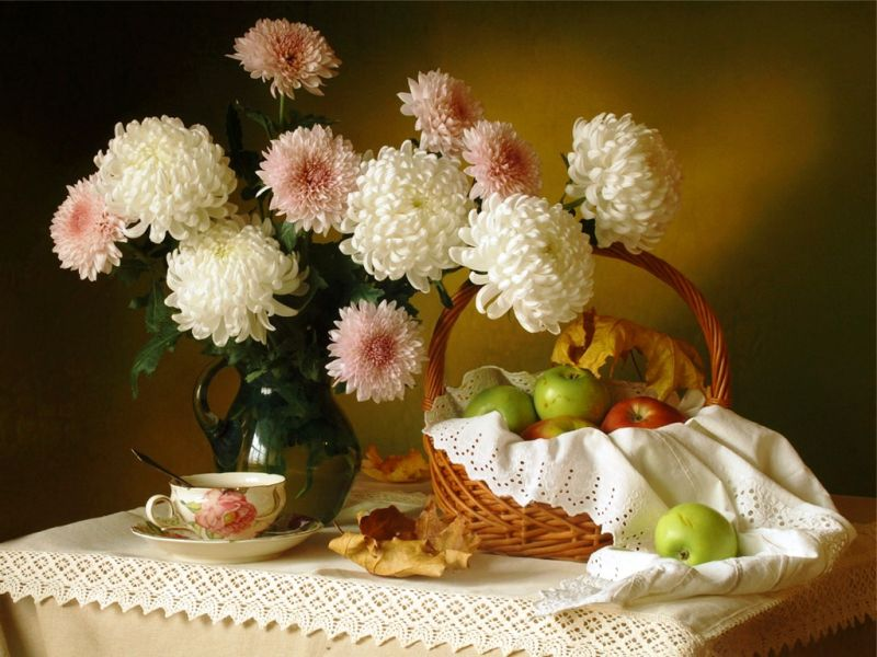 Puzzle Sammeln Puzzle Online - Chrysanthemums and apples
