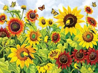 Собирать пазл Sunflowers онлайн