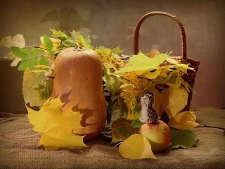 Собирать пазл About a hedgehog and a pumpkin онлайн