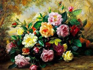 Собирать пазл Multi colored roses онлайн