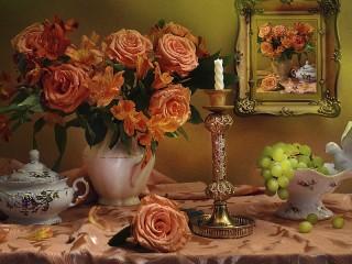Собирать пазл Roses and grapes онлайн