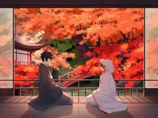 Собирать пазл Autumn date онлайн