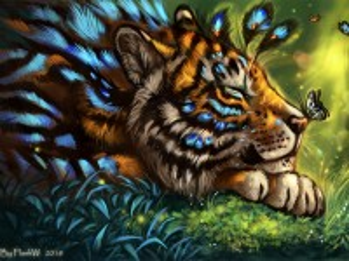 Собирать пазл Tiger and moth онлайн