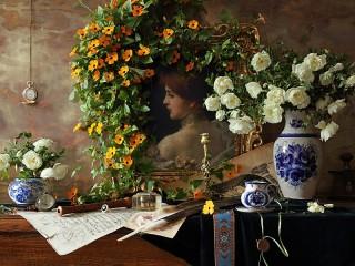 Собирать пазл Flowers and a portrait онлайн